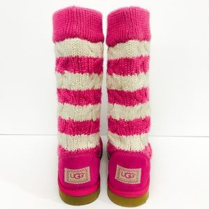 UGG Tall Pink Stripe Cable Knit Boots